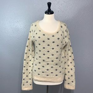 Anthropologie | Moth Fuzzy Polka Dot Sweater L